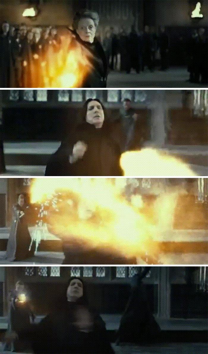 En las Reliquias de la Muerte 2, Snape sigue ayudando a la Orden del Fénix cuando redirige los hechizos de McGonagall a los mortífagos detrás de él