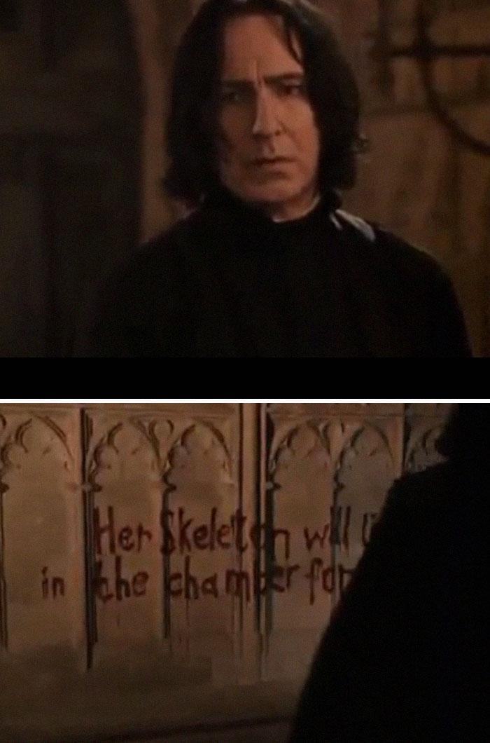 Cuando McGonagall revela que Ginny Weasley ha sido llevada a la cámara de los secretos, Snape está realmente preocupado
