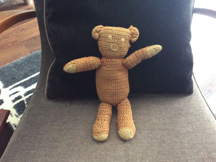 Meet Teddy. Knitted By My Great Grandmother For My Birth. With Me 47 Years And Forever
