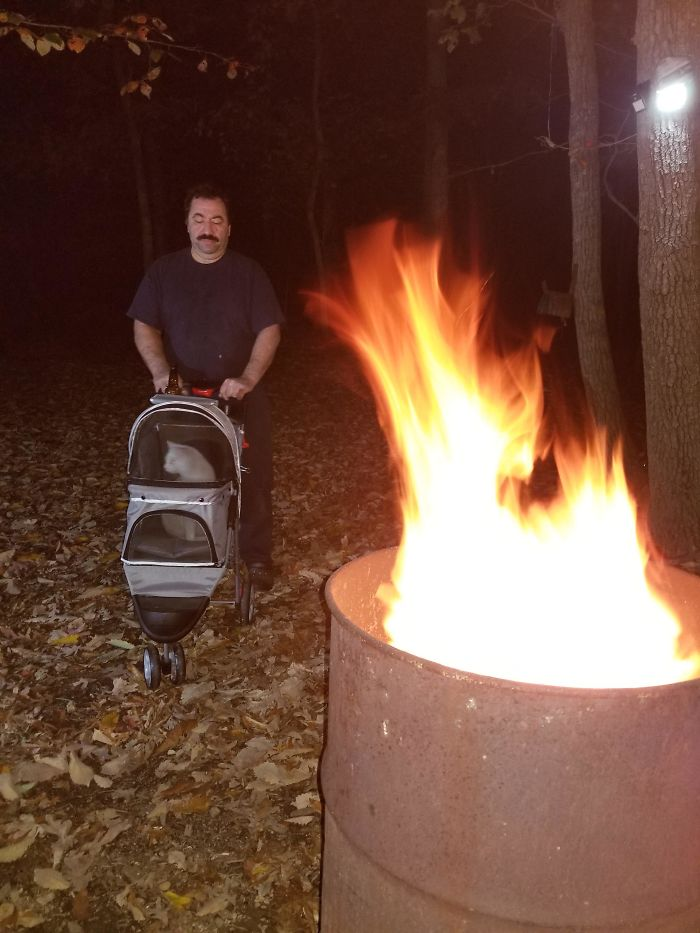 Update, Over A Year After Dad Finally Said Ok To Our (His) Cat, Here Is Big Mechanic Dad Enjoying The Fall Fire With His Little Boy
