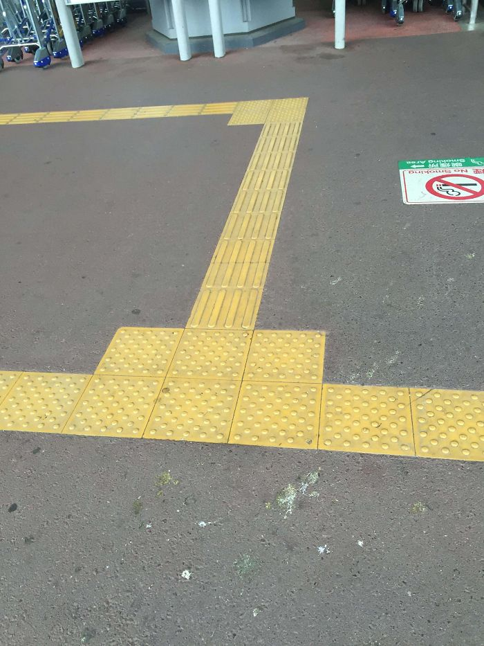 In Japan And Many Other Countries, Sidewalks Have Paths For The Blind