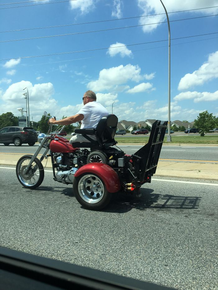 This Man Lost His Legs So He Built A Ramp Onto His Trike To Use His Motorized Wheelchair To Drive It