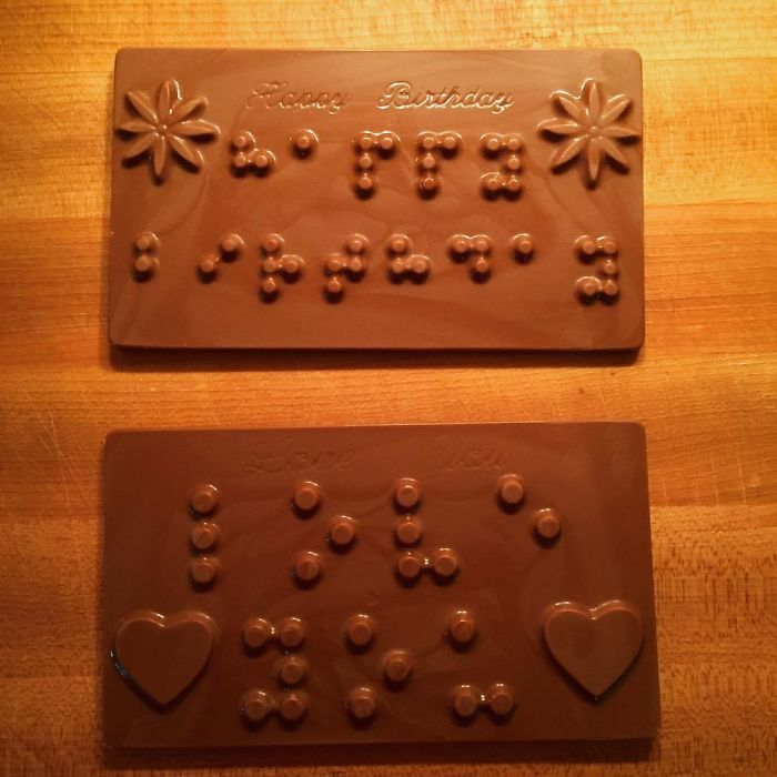"My Daughter Is Blind And For Her 9th Birthday Party We Made Braille Chocolate Message Slabs - ""I Love You"" And ""Happy Birthday"" In Braille"