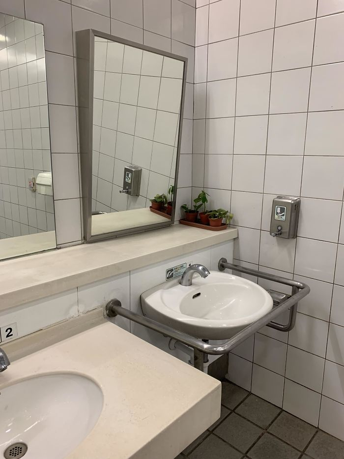 This Sink And Tilted Mirror Is Perfectly Adapted To A Help A Disabled Person