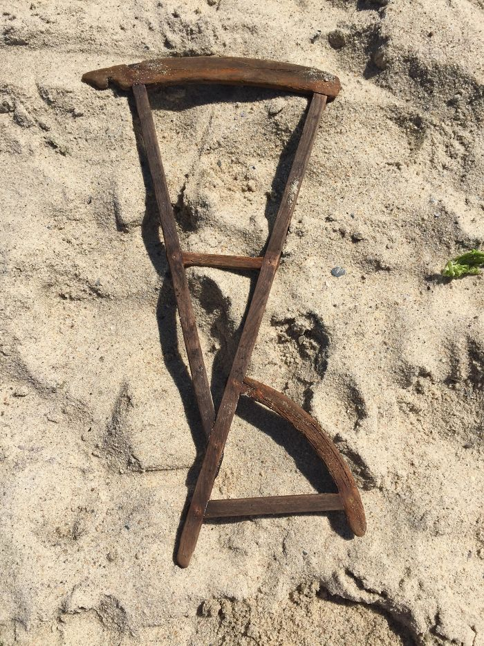 Found This Washed Up On A Beach In Massachusetts. It's Wooden And Looks Handcrafted. Maybe A Piece Of A Chair?