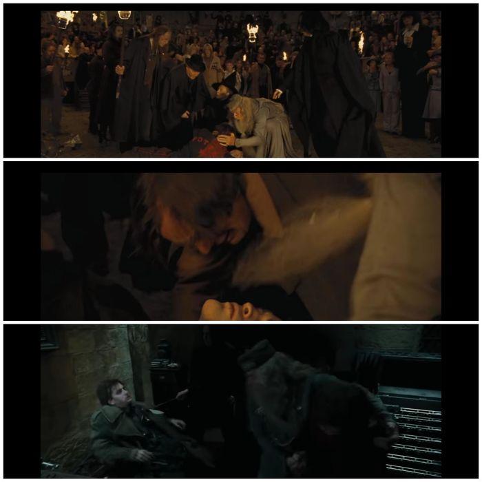 En el Cáliz de fuego, cuando Harry trae el cuerpo de Cedric, Snape lo cubre con su capa, y luego el padre de Cedric la retira para mirar a su hijo. Por eso no la lleva puesta cuando capturan a Barty Crouch Jr.