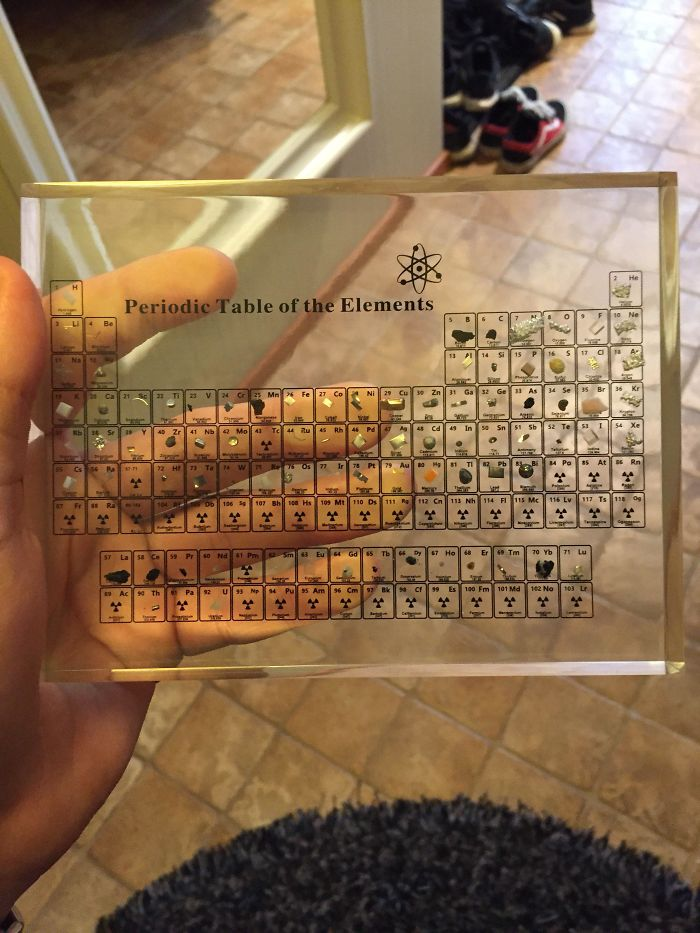 Mi padre tiene una tabla periódica con los elementos reales