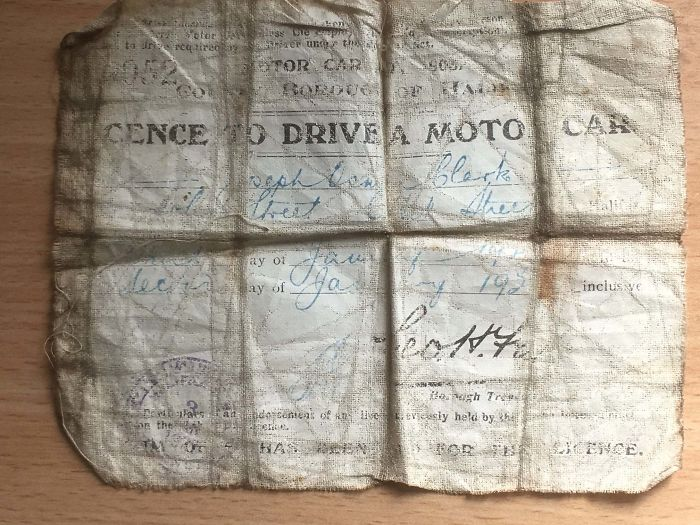My Great-Grandfather's Driving Licence No. 052 Issued In Halifax, Yorkshire. It Is Printed On Cloth