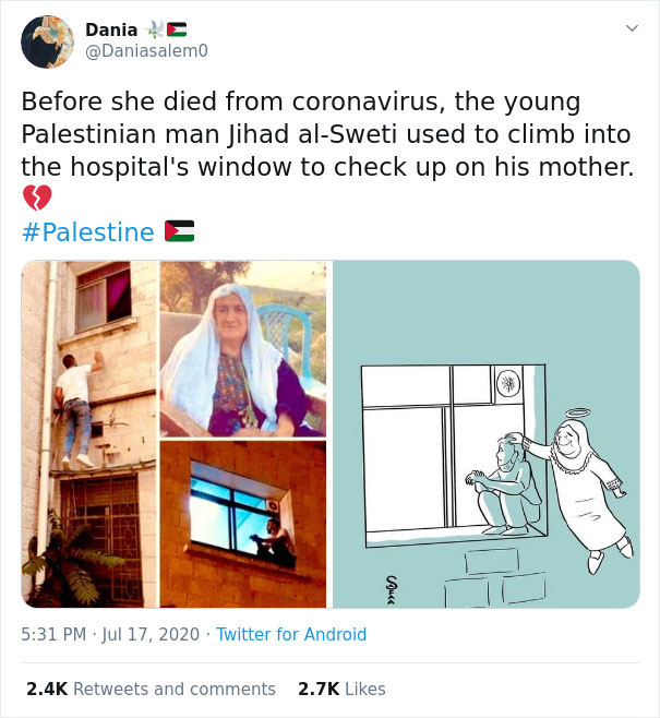 Man Climbs Up Hospital Wall And Watches Over His Mom From Outside The Hospital Day And Night Until She Dies Due To Coronavirus