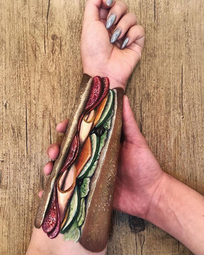 Chinese Artist Paints Food Impressively On Her Body