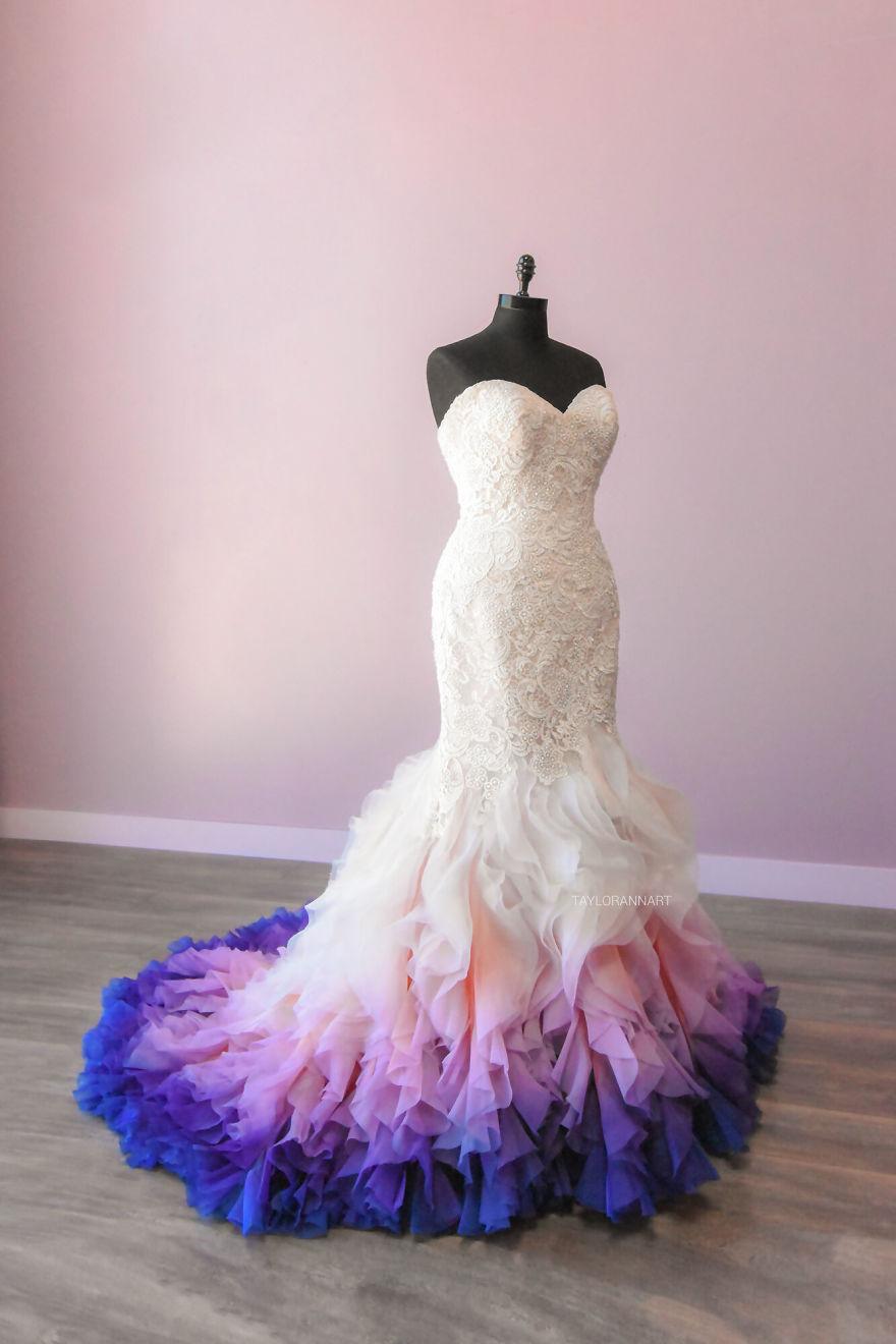 "Artist Starts A Colorful Wedding Dress Business After Her ""Fire"" Wedding Dress Goes Viral"