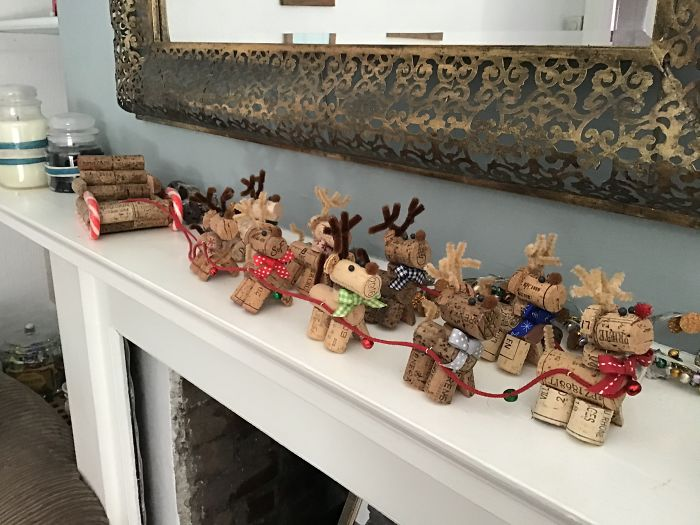 Cork Reindeers And Sleigh