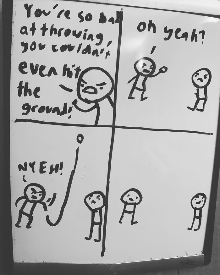 14-Year-Old-Draws-Comics-On-Whiteboard-Jakes-Door