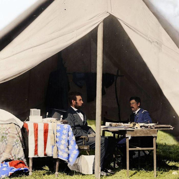 Abraham Lincoln y George Mcclellan en Antietam, 1862
