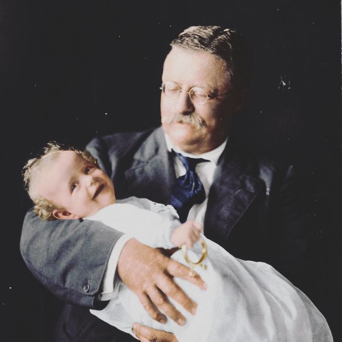 Theodore Roosevelt Holding His Grandson, Kermit Roosevelt Jr. - Ca. 1916