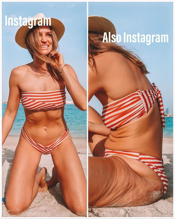 33-Year-Old Reveals Just How Misleading 'Perfect' Instagram Photos Can Be, Shows How Lighting And Posing Affects Them
