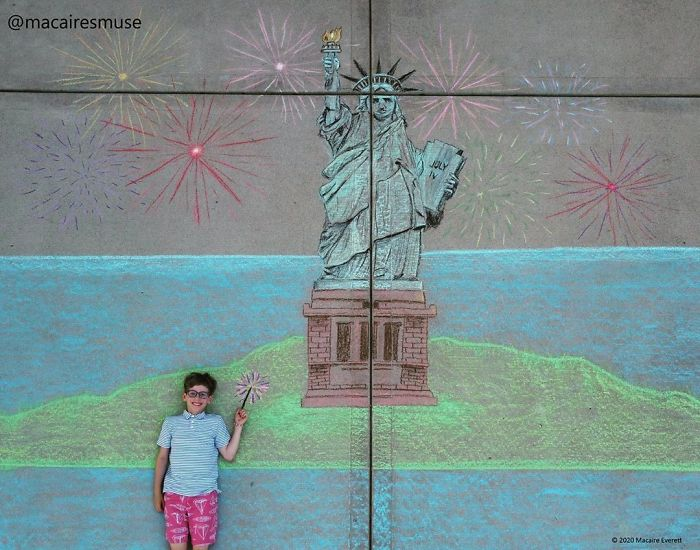 14-Year-Old-Daily-Chalk-Art-For-Her-Brother-So-He-Could-Travel