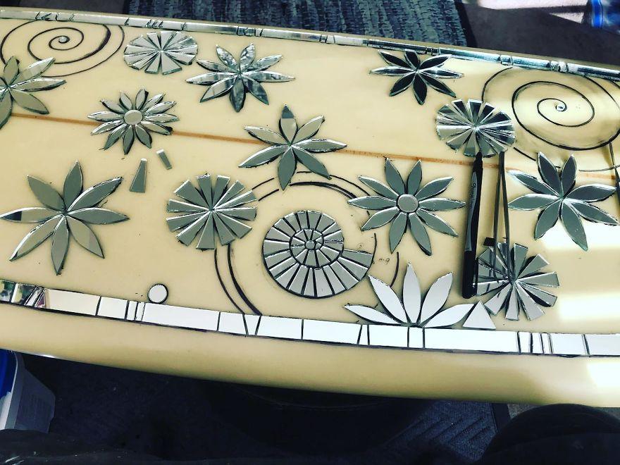 I Create Mosaic Designs On Surfboards (27 Pics)