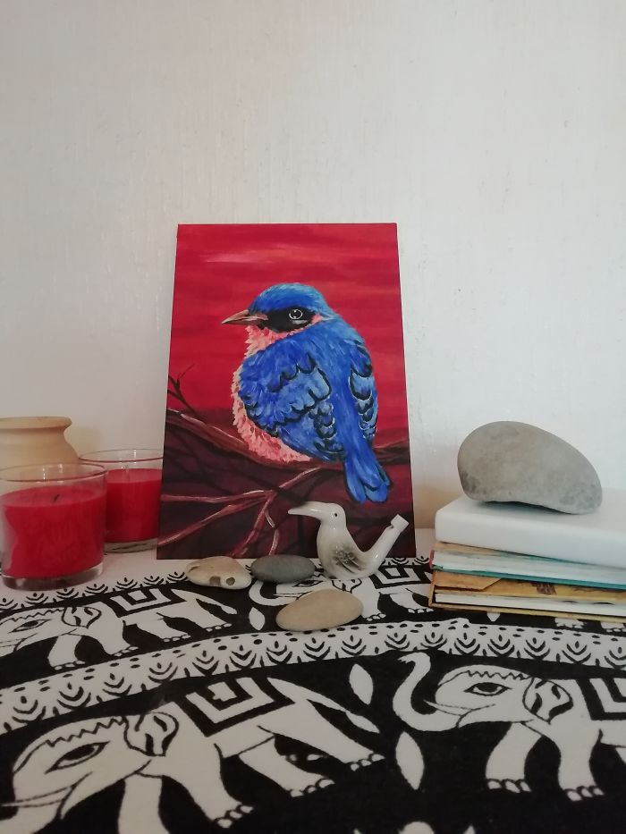 My New Acrylic Blue Bird For My Shop In Etsy. I Adore The Nature