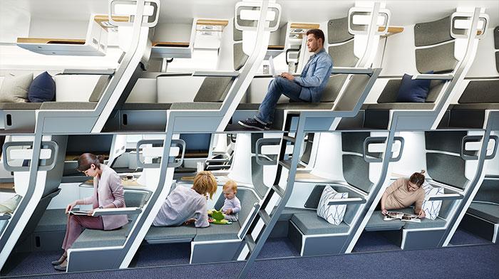 Este nuevo diseño de asientos de avión permite que los pasajeros de clase económica se tumben