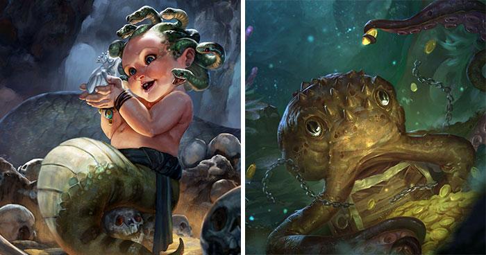 Este artista retrata a criaturas míticas en su forma vulnerable: cuando aún eran bebés (30 imágenes)