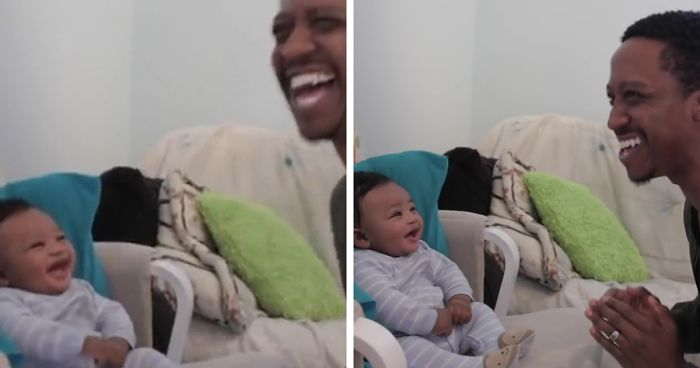 Dad Tries To Challenge His 5-Month-Old Son Into A Rap Battle, Gets Defeated By His Laughter