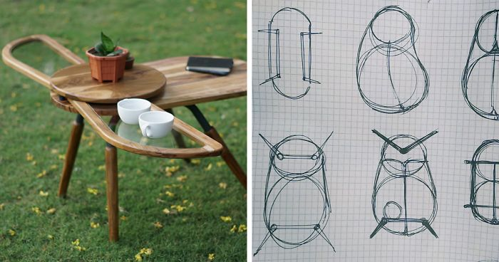 """This Beetle-Inspired Coffee Table Features Practical Fold-Out """"Wings"""""""