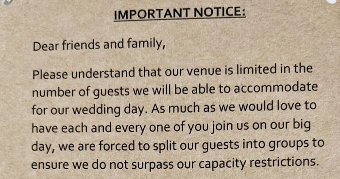 This Wedding Invitation Is Causing A Ruckus On Social Media For Putting Guests Into 3 Different Groups