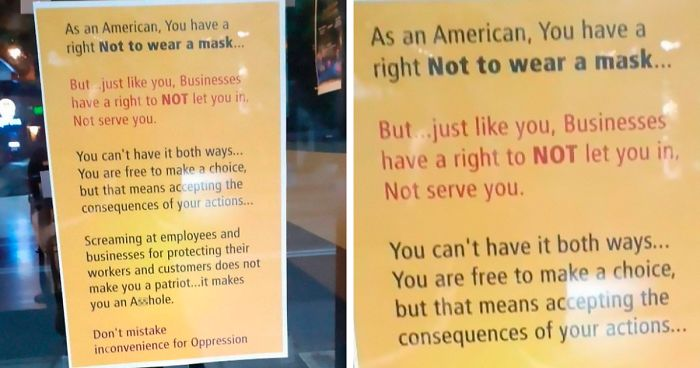 People Are Applauding This Business For Putting Up A Poster That Puts Covidiots In Their Place
