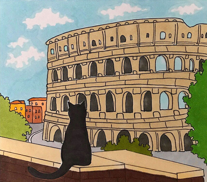 After Lockdown, I Was Happy To Explore Rome Again So I Drew These 19 Illustrations Of My Cat Walking Around The City