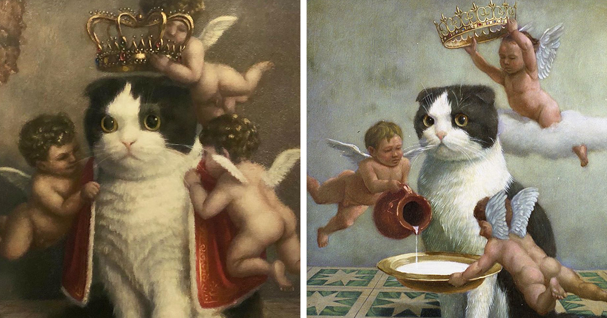 This Japanese Artist Turns Cats Into Royals In Oil Paintings (11 Pics)