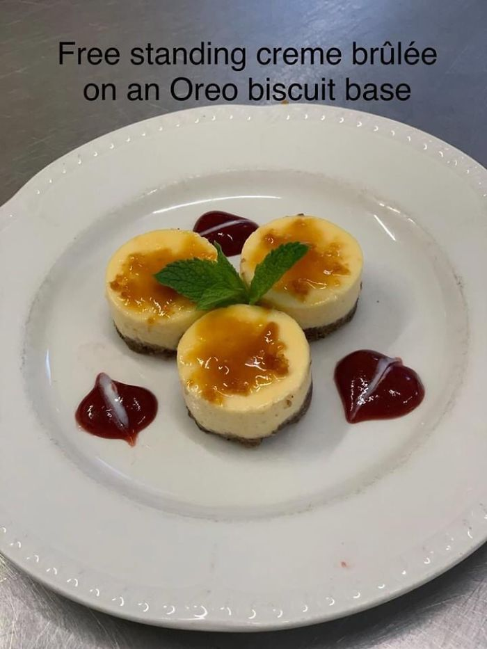 Free Standing Creme Brûlée On An Oreo Biscuit Base