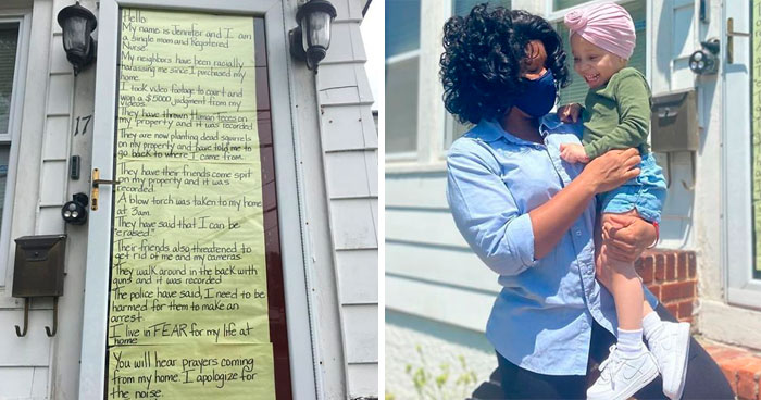 Esta madre negra puso un cartel contando cómo la amenazan sus vecinos blancos, y la comunidad salió en su ayuda