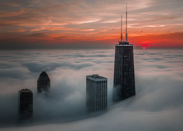 I Use My Drone To Photograph Chicago During The Most Incredible Sunrises And Sunsets (6 Pics)
