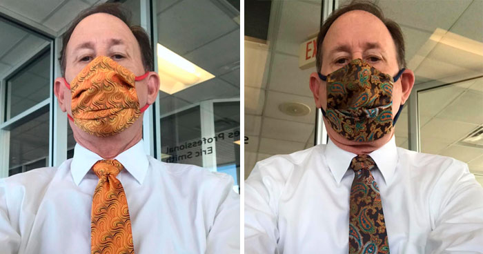 People Can't Get Enough Of This Dad Matching His Ties With Face Masks Daily