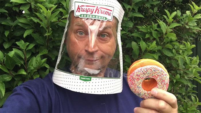 Here's A Way To Make A Face Shield Out Of A 12-Doughnut Krispy Kreme Box