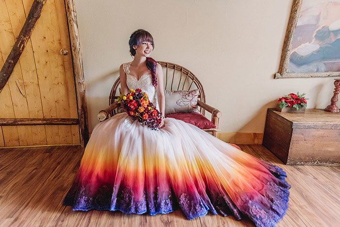 "Artist Starts A Colorful Wedding Dress Business After Her ""Fire"" Wedding Dress Goes Viral"