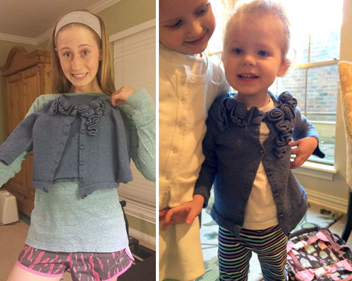 Sorry For Your Loss Meredith, We Kind Of Shrunk Your Favorite Sweater, But Ella Loves Her New Sweater