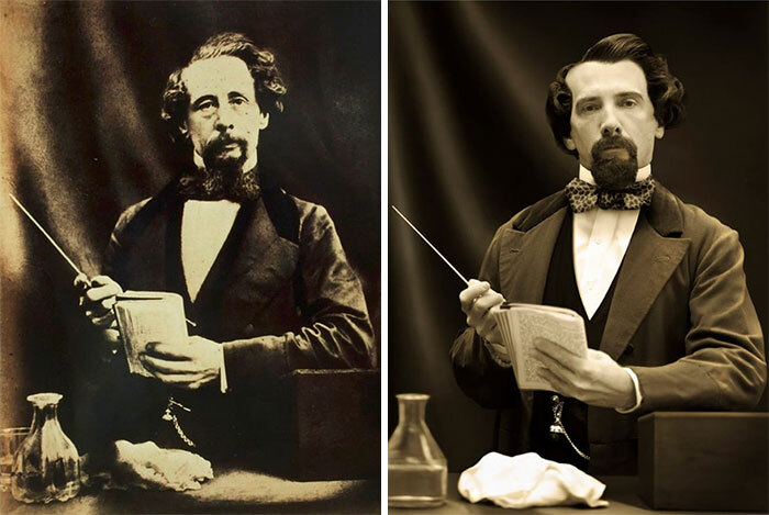 Charles Dickens (Left), 1858 And Gerald Charles Dickens (Right) Dickens's, Great-Great-Grandson