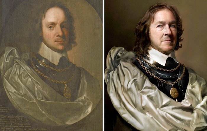 Oliver Cromwell (Left), 1653-1654 And Charles Bush (Right) The Great-Great-Great-Great-Great-Great-Great-Great-Great-Grandson Of Oliver Cromwell