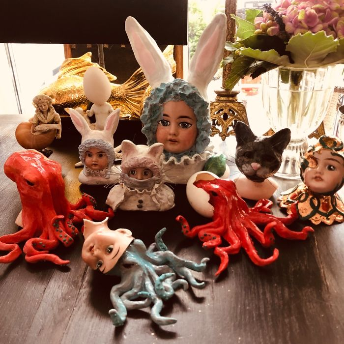 During Covid19 I Started Creating Sculptures Made Out Of Ancient Doll Parts And Modelling Clay❤️