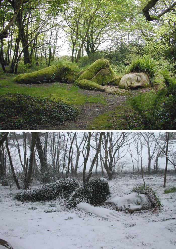 La doncella de barro, escultura que cambia con las estaciones