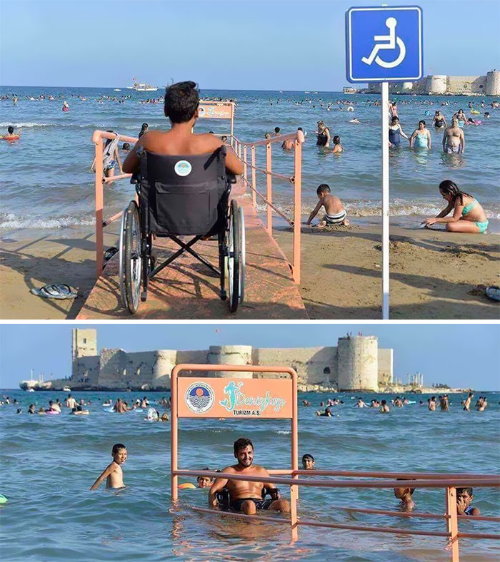 In The City Of Kızkalesi, Turkey, This Beach Includes An Access Ramp So That Physically Impaired People Can Swim
