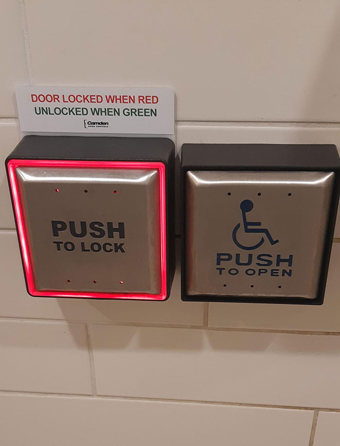 This Wheelchair Bathroom Uses Impairment Friendly Buttons To Lock The Door