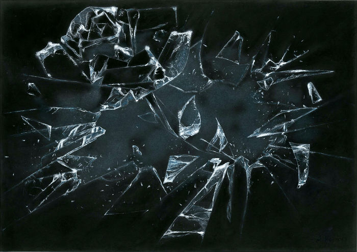 Pastel Painting Of Shattering Glass