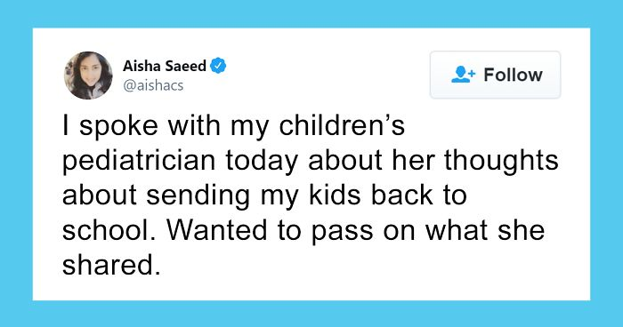 Mom Asks Pediatrician About The Idea Of Kids Going To School Again, Receives A Reality Check