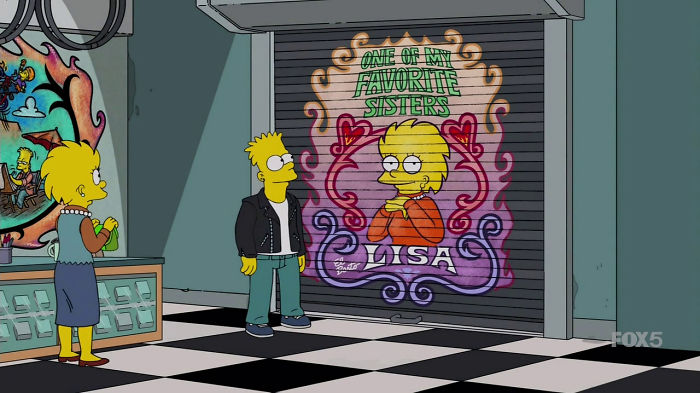 Bart Owns A Bike Shop And Pulls Down The Shutters With Paintings Of Lisa That He Painted