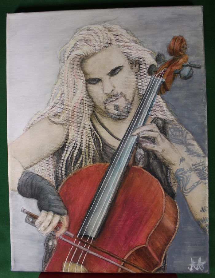 A Canvas Painting I Made Of Perttu From Apocalyptica. Took A While But It Might Be The Best Painting I Got Yet
