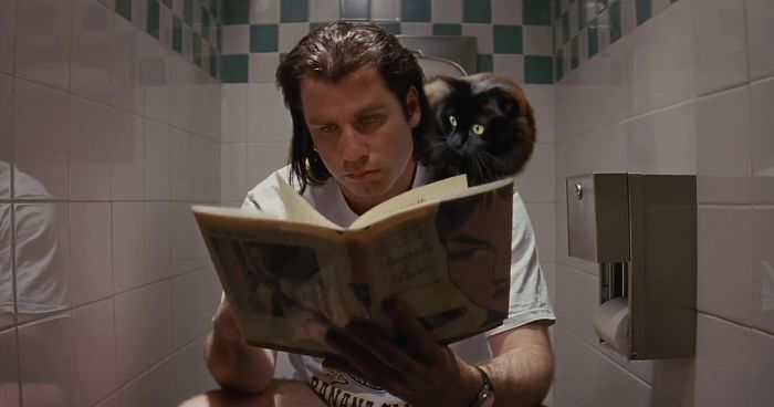"Someone Makes A ""Purr Fiction"" Out Of ""Pulp Fiction"" By Adding A Cat Character To It"
