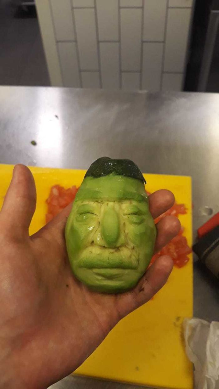 Carved Avocado When I Was Working As A Chef, Lol